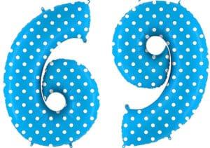 Luftballon Zahl 69 Zahlenballon blau mit weißen Punkten (100 cm)