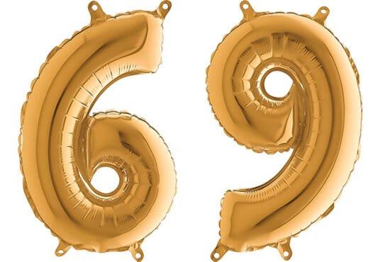 Luftballon Zahl 69 Zahlenballon gold (66 cm)