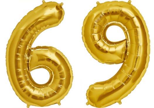 Luftballon Zahl 69 Zahlenballon gold (86 cm)