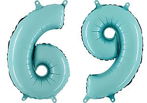 Luftballon Zahl 69 Zahlenballon pastell-blau (100 cm)