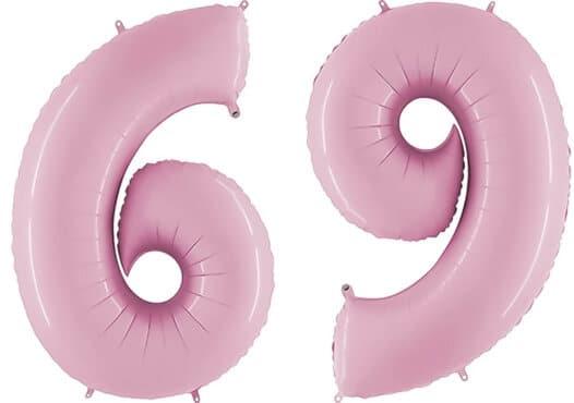 Luftballon Zahl 69 Zahlenballon pastell-pink (100 cm)