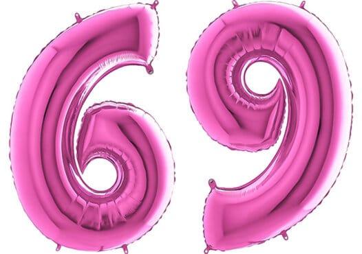 Luftballon Zahl 69 Zahlenballon pink (66 cm)