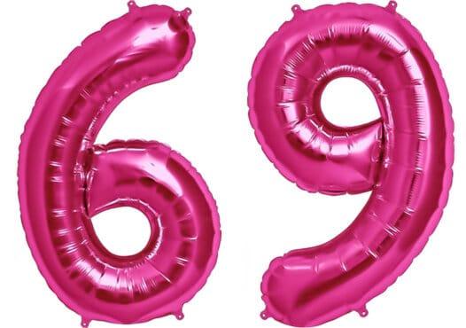 Luftballon Zahl 69 Zahlenballon pink (86 cm)
