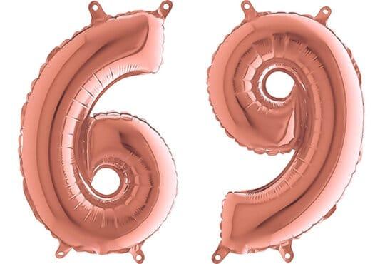 Luftballon Zahl 69 Zahlenballon rosegold (66 cm)