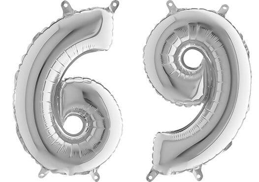 Luftballon Zahl 69 Zahlenballon silber (66 cm)