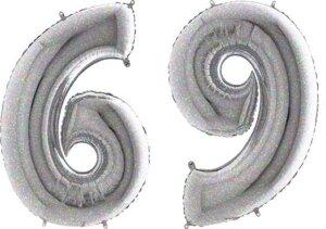 Luftballon Zahl 69 Zahlenballon silber-holographic (100 cm)