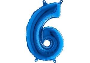 Luftballon Zahl 6 Zahlenballon blau (66 cm)