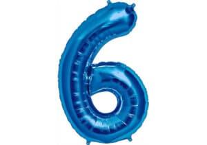 Luftballon Zahl 6 Zahlenballon blau (86 cm)