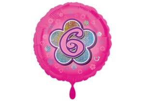 Runder Luftballon mit Blume und Zahl 6 pink (38 cm)