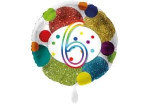 Glitzer-Luftballon mit der Zahl 6 in bunt (38 cm)