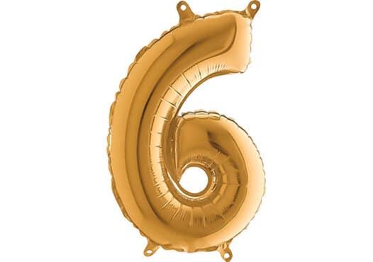 Luftballon Zahl 6 Zahlenballon gold (66 cm)