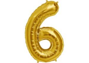 Luftballon Zahl 6 Zahlenballon gold (86 cm)