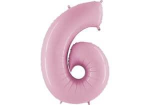 Luftballon Zahl 6 Zahlenballon pastell-pink (100 cm)