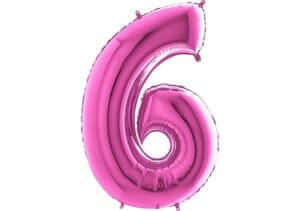 Luftballon Zahl 6 Zahlenballon pink (66 cm)
