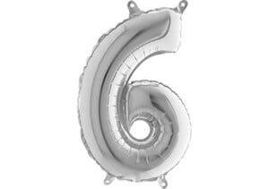 Luftballon Zahl 6 Zahlenballon silber (66 cm)