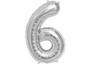 Luftballon Zahl 6 Zahlenballon silber (86 cm)