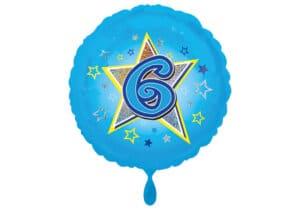 Runder Luftballon mit Stern und Zahl 6 blau (38 cm)