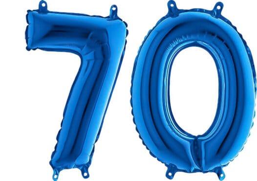 Luftballon Zahl 70 Zahlenballon blau (66 cm)