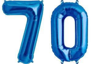 Luftballon Zahl 70 Zahlenballon blau (86 cm)