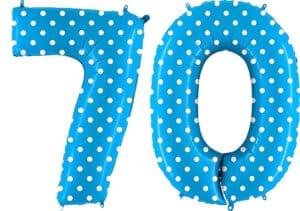 Luftballon Zahl 70 Zahlenballon blau mit weißen Punkten (100 cm)