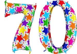 Luftballon Zahl 70 Zahlenballon silber mit bunten Sternen (100 cm)