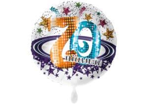 Runder Luftballon mit Glitzersternen und Zahl 70 in weiß (38 cm)