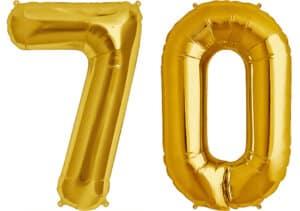 Luftballon Zahl 70 Zahlenballon gold (86 cm)