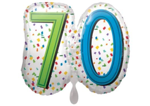 Luftballon Geburtstagszahl Zahl 70 bunt (38 cm)