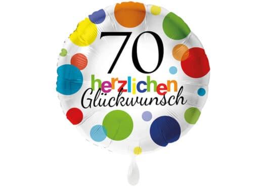 Runder Luftballon mit bunten Punkten Herzlichen Glückwunsch Zahl 70 weiß (38 cm)