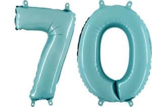 Luftballon Zahl 70 Zahlenballon pastell-blau (100 cm)