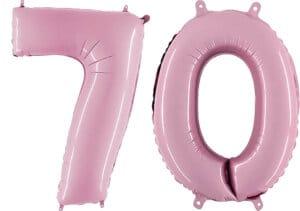 Luftballon Zahl 70 Zahlenballon pastell-pink (100 cm)