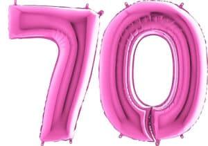 Luftballon Zahl 70 Zahlenballon pink (66 cm)