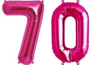 Luftballon Zahl 70 Zahlenballon pink (86 cm)