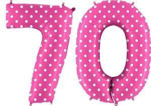 Luftballon Zahl 70 Zahlenballon pink mit weißen Punkten (100 cm)
