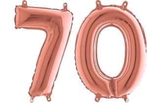 Luftballon Zahl 70 Zahlenballon rosegold (66 cm)
