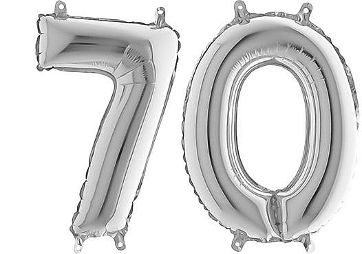 Luftballon Zahl 70 Zahlenballon silber (66 cm)