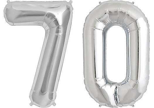 Luftballon Zahl 70 Zahlenballon silber (86 cm)