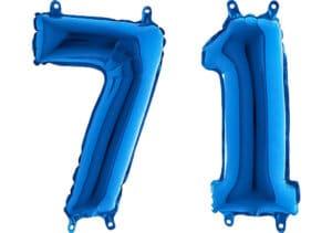 Luftballon Zahl 71 Zahlenballon blau (66 cm)