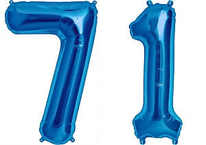 Luftballon Zahl 71 Zahlenballon blau (86 cm)