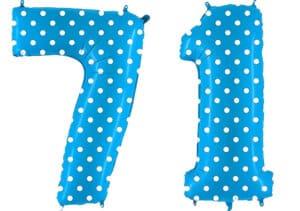 Luftballon Zahl 71 Zahlenballon blau mit weißen Punkten (100 cm)