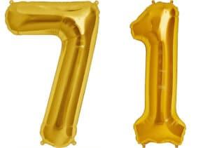Luftballon Zahl 71 Zahlenballon gold (86 cm)