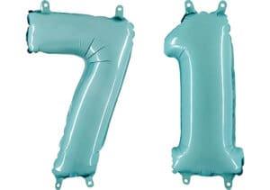 Luftballon Zahl 71 Zahlenballon pastell-blau (100 cm)