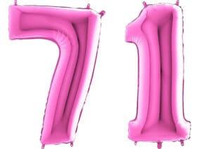 Luftballon Zahl 71 Zahlenballon pink (66 cm)