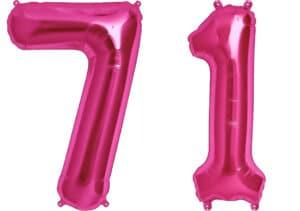 Luftballon Zahl 71 Zahlenballon pink (86 cm)