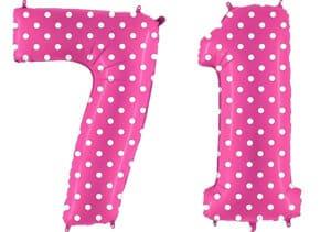 Luftballon Zahl 71 Zahlenballon pink mit weißen Punkten (100 cm)