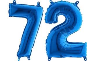 Luftballon Zahl 72 Zahlenballon blau (66 cm)