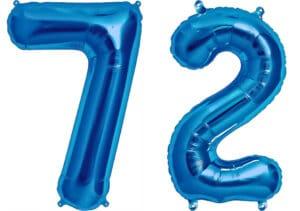 Luftballon Zahl 72 Zahlenballon blau (86 cm)