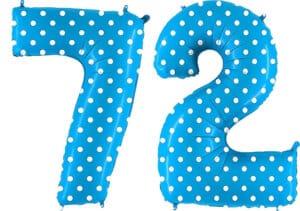 Luftballon Zahl 72 Zahlenballon blau mit weißen Punkten (100 cm)
