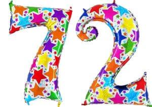 Luftballon Zahl 72 Zahlenballon silber mit bunten Sternen (100 cm)