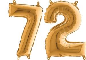 Luftballon Zahl 72 Zahlenballon gold (66 cm)